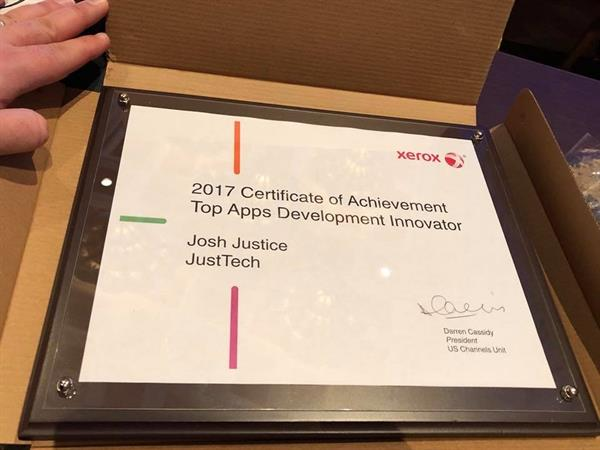 An award for Just Tech and our President Josh Justice!