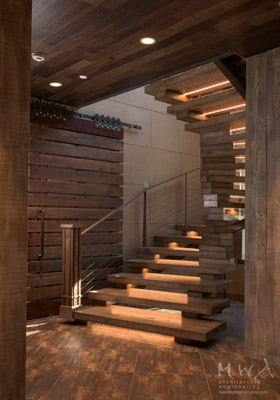 Lake Tahoe home stacked and curved stairs