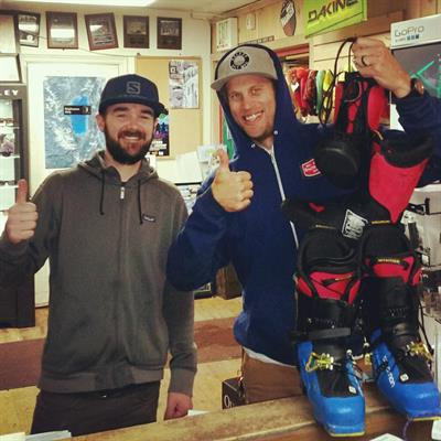 Corey, our expert bootfitter with local professional athlete Cody Townsend