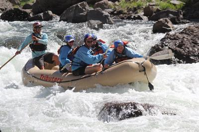 "Bachelor Party enjoying the highlight of the trip - Class 3+ ""Jaws"" rapid"