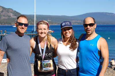 Tahoe Peaks Coaches with Bailey Le Clair after helping her complete half marathon post injury