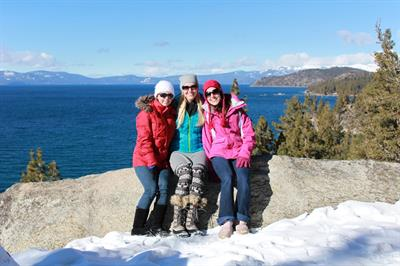 Beautiful hikes and views around Lake Tahoe are 20 min down Hwy 89