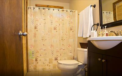 Main bathroom with shampoo+conditioner, has washer and gas dryer