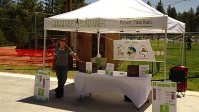 Truckee Optimist Club 12 Annual Brew Fest: Set up and ready to engage locals in reuse!!
