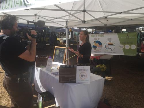 Respectful Revolution creating video about Conscious Container at Truckee Farmers Market