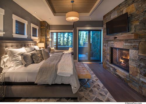 Elegant Mountain Transitional Master Bedroom