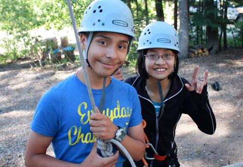 ARC participants beginning a ropes course adventure