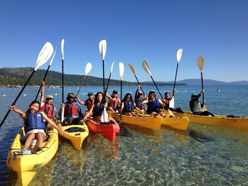 Summer Immersion Course participants kayak on Lake Tahoe