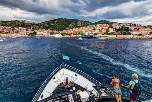 Small ship cruising in Croatia