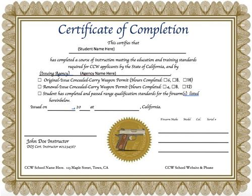 You can get your required Certificate of Completion at Sierra CCW.