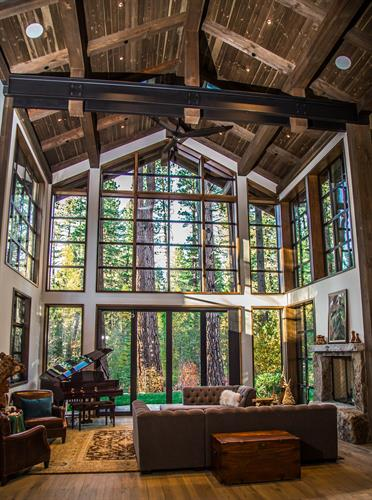 Great room with exposed steel beams