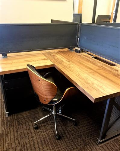 Executive Dedicated Desks with Privacy Screen and Locking File Cabinets