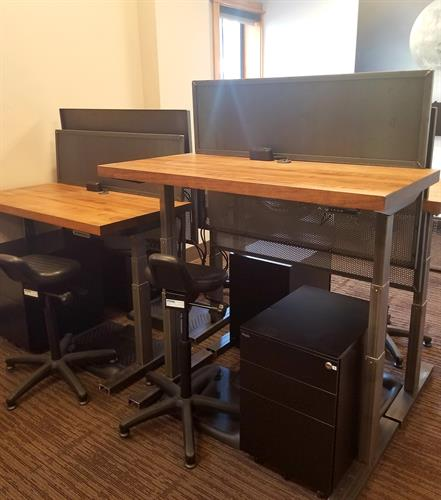 Adjustable Sit/Stand Desks with Locking File Cabinet