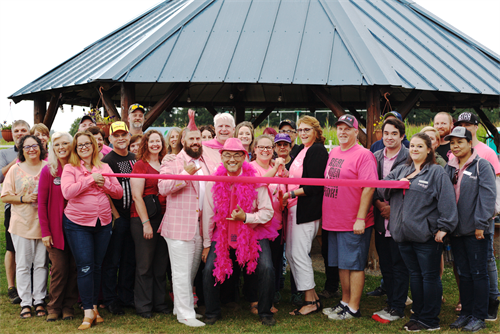 Ribbon cutting at our Real Men Wear Pink kick off