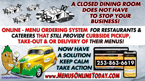 RESTAURANTS DO NOT HAVE TO SUFFER DURING MANDATORY DINING ROOM CLOSURES - Get our ONLINE Menu Media Marketing System - if you offer Curbside, Takeout or Delivery of food! https://bit.ly/onlinemenusystem02