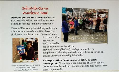 Costco did behind the scenes tour for the Lacey Senior Center 2019