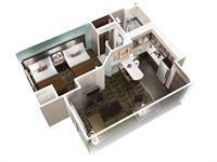 One Bedroom w/ 2 Queen Bed Suite Layout