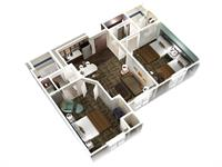 Two Bedroom Two Bath Suite Layout