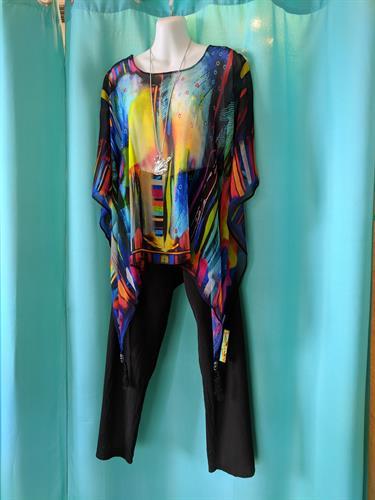 Art inspired silk poncho