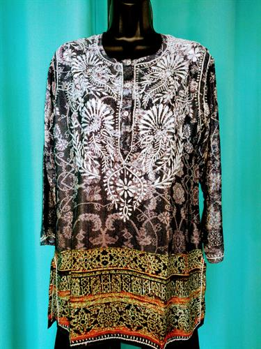 Light weight tunic with embroidery
