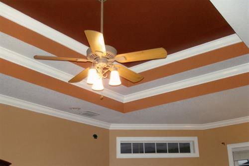 Double step-up tray ceiling, with crown molding