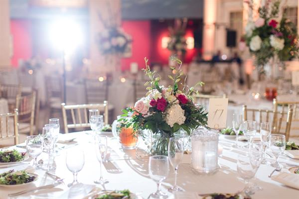 An elegant wedding reception in the Museum Plaza. (Photo by Jill Gum Photography)