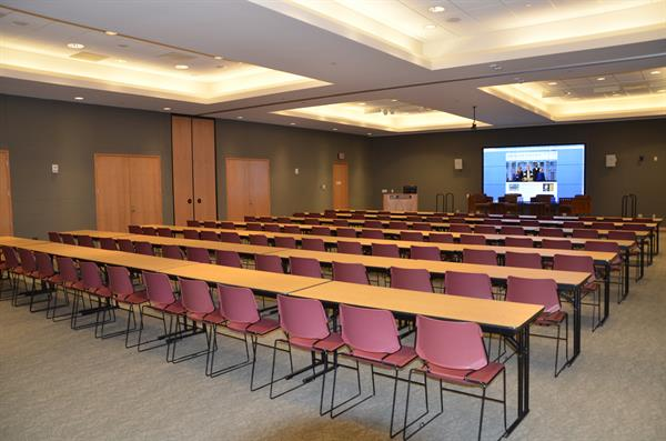 The Multipurpose Room in the Library features a video wall and multiple set up capabilities.