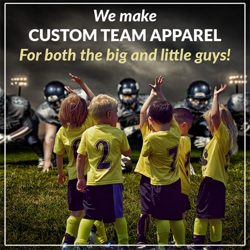 We offer custom team apparel printing