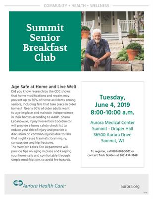 Aurora Health Care Summit Senior Breakfast Club Age Safe At Home And Live Well