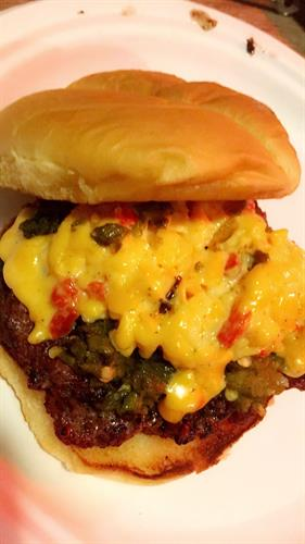 Green Chile Pimento Cheeseburger