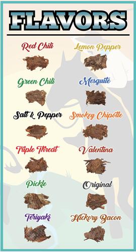 12 Beef Jerky Flavors.
