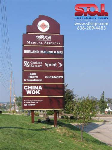 Large tenant pylon signage.