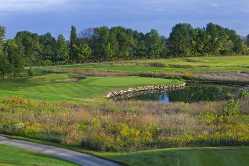 No. 5, a beautiful par-3 at Persimmon Woods Golf Club