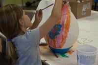 Painting a paper maché hot air balloon