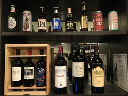 Many wine and beer choices at Wine Gallery