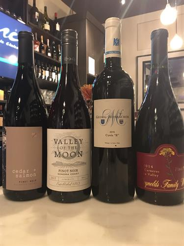 Pinot Noir from California, Willamette Valley, Germany and often more.