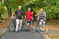 Foulkeways residents Sam, Ed and Dan pause their bike ride to pose on this beautiful fall day