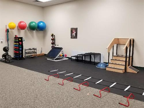 Gym area. Guided exercises will help you reach your goals.