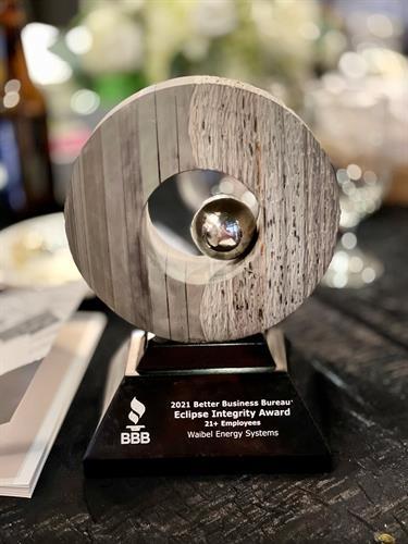 2021 BBB Eclipse Integrity Award Winner