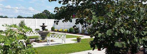 The beautiful courtyard that is available to residents & family members at all times!