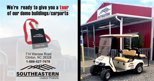 Come visit us for a tour of our metal buildings, sheds and carport demos!