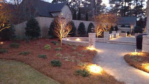 Custom Landscape, Custom paver walk way, Custom Night Lighting to enjoy day and night all year round.