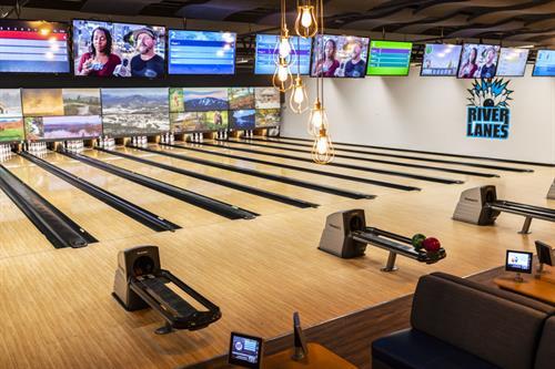 Ten Lanes of 10 Pin Bowling. State of the art Brunswick Scoring System.