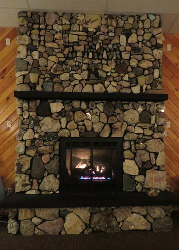 We have a beautiful fireplace in the restaurant with rocks fromaround the world!