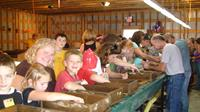 Oxford County Fair,  Sluicing in the mineral pavilion.