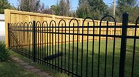 6ft Wood Privacy/ 4ft Tall Crescent Ornamental Iron