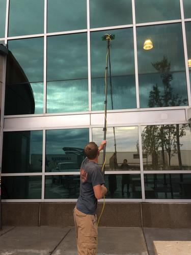We provide residential and commercial window cleaning services!