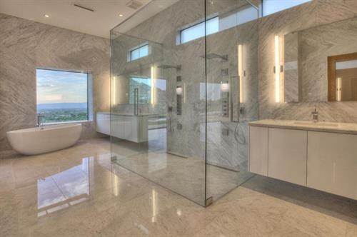 European Shower Enclosure & Large Vanity Mirrors