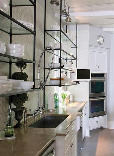 Kitchen with Open Glass Shelving