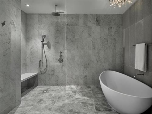 Bathroom White Marble Enclosed Shower Wet Room